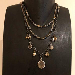 Lia sophia tri-color necklace w removable strands